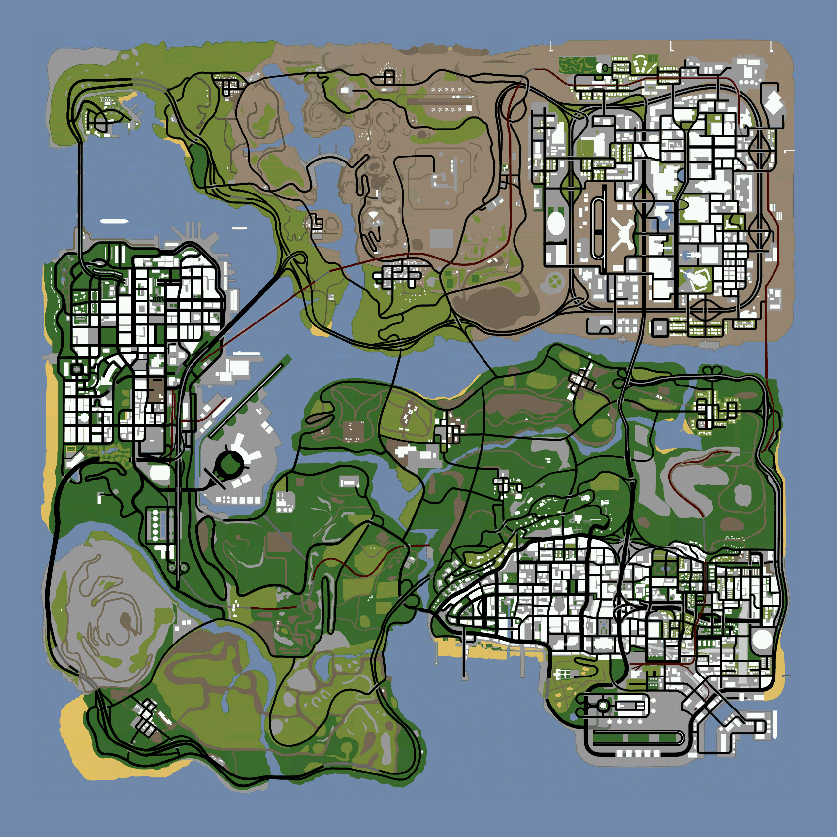 Gta San Andreas Karte.Map Gta San Andreas Gtavision Com Grand Theft Auto News