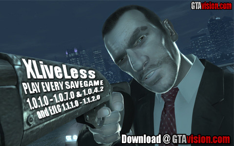 XLiveLess (GTA IV 1 0 1 0 - 1 0 7 0, 1 0 4 2 & EfLC 1 1 1 0 - 1 1